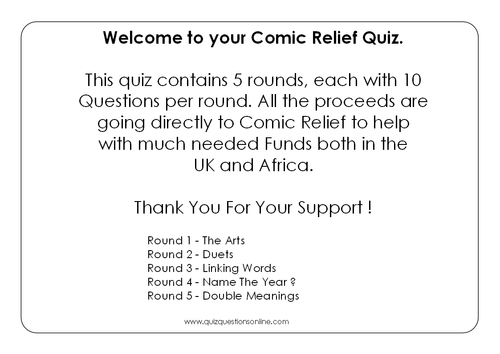 Product picture Comic Relief 2013 Quiz 5 Rounds Of 10 Questions